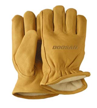 Winter Lined Gold Deerskin Leather Glove - Large